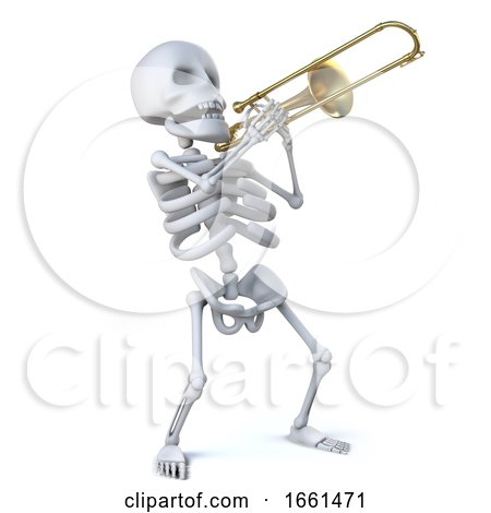 3d Skeleton Playing His Trombone with Verve by Steve Young