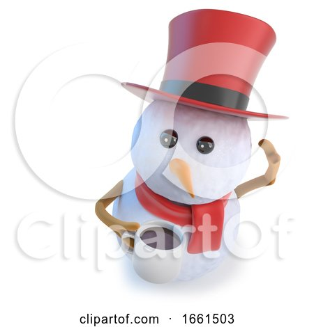 3d Funny Cartoon Snowman Wearing a Top Hat and Holding a Mug of Coffee or Tea Posters, Art Prints