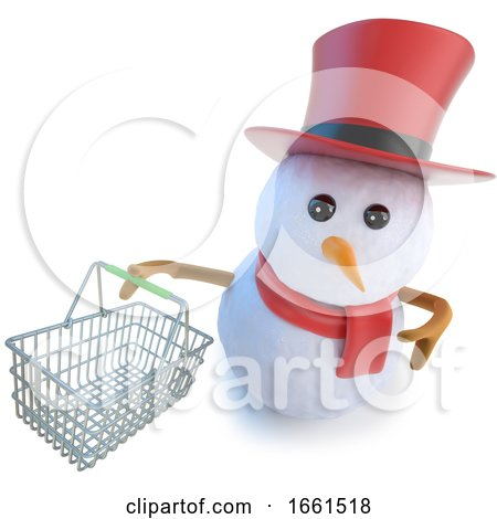 3d Funny Cartoon Snowman in Top Hat Holding a Shopping Basket by Steve Young