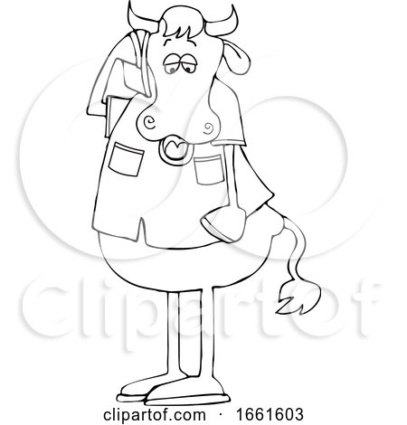 Cartoon Black and White Cow Talking on a Cell Phone by djart