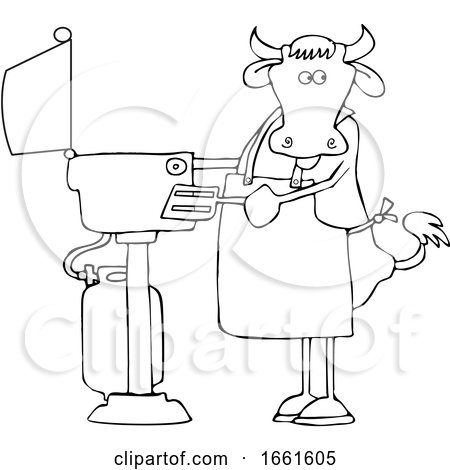 Cartoon Lineart Cow Cooking on a BBQ by djart