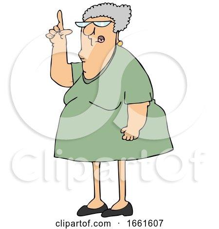 Cartoon Senior Woman Pointing up by djart