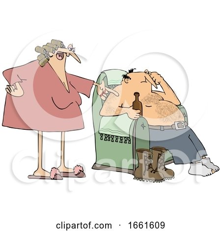 Cartoon Wife Nagging Her Husband As He Sits in a Chair and Drinks a Beer by djart