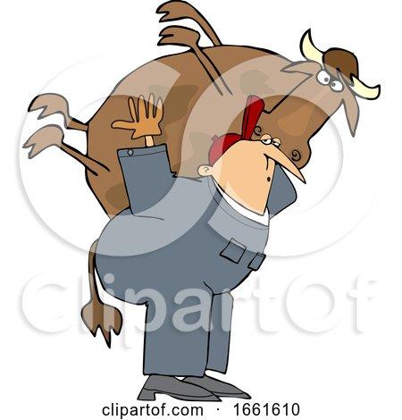 Cartoon White Male Farmer Carrying a Cow by djart