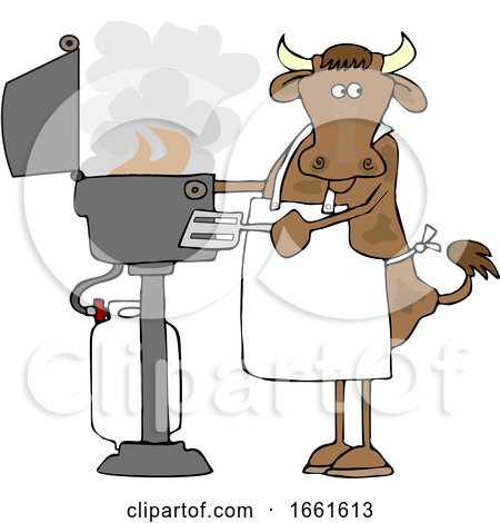 Cartoon Cow Cooking on a BBQ by djart