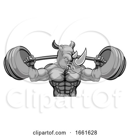 Rhino Mascot Weight Lifting Barbell Body Builder by AtStockIllustration