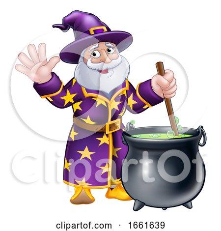 Wizard Cartoon Character and Cauldron by AtStockIllustration