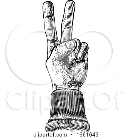 Peace Victory Hand Two Finger Sign by AtStockIllustration