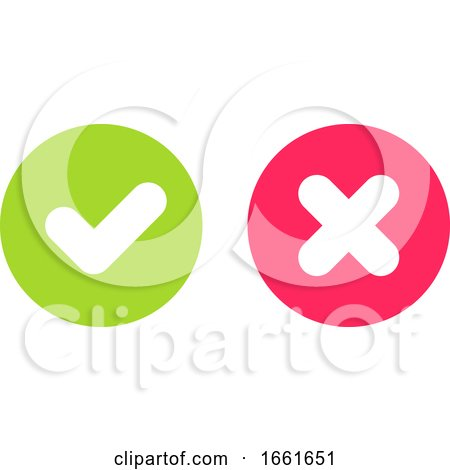 Green Tick and Red Cross Signs for Yes and No Buttons by elena