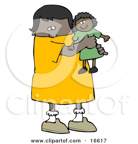 Little African American Girl Child Holding And Hugging Her Doll Toy While Playing  Posters, Art Prints