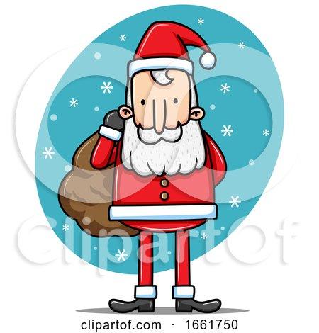 Cartoon Santa Claus in the Snow by Qiun