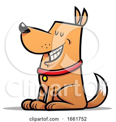 Cartoon Good Dog Sitting by Qiun