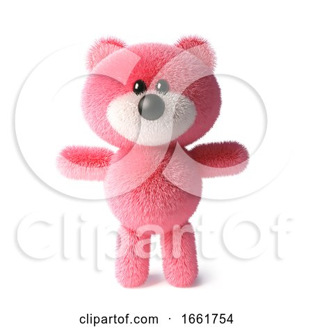 Soft Pink Fluffy Teddy Bear Character Standing Peacefully by Steve Young