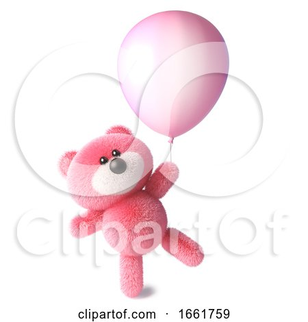 Teddy Bear with Pink Fluffy Fur Starts to Float Holding onto a Pink Balloon by Steve Young