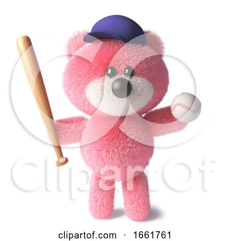 Teddy Bear with Soft Pink Fur Wearing a Baseball Hat and Holding a Baseball Bat and Ball by Steve Young