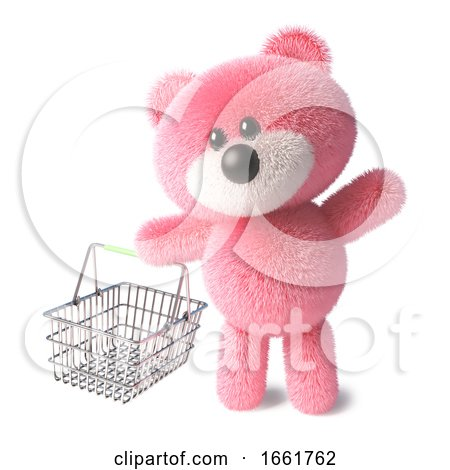 Teddy Bear with Fluffy Pink Fur Carrying an Empty Shopping Basket by Steve Young