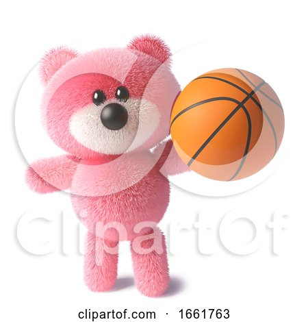 Pink Teddy Bear Character with Soft Fur Holding a Basketball by Steve Young
