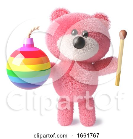 Teddy Bear with Soft Pink Fluffy Fur Holding a Match and Rainbow Bomb by Steve Young