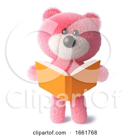 Cuddly Pink Fluffy Teddy Bear Character Reading a Book by Steve Young