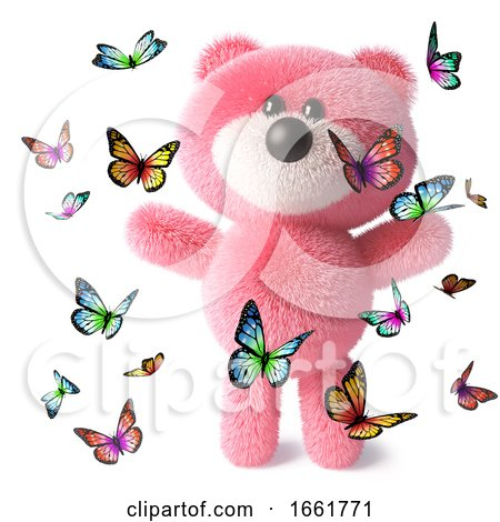 Pink Teddy Bear Character with Fluffy Soft Fur Playing with Lots of Butterflies by Steve Young