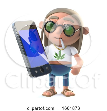 3d Stoner Hippie with a New Smartphone Tablet Device Posters, Art Prints