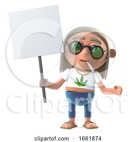 3d Hippie Stoner Is Protesting with a Blank Placard Posters, Art Prints