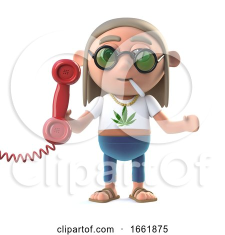 3d Hippie Stoner Answers the Phone Posters, Art Prints