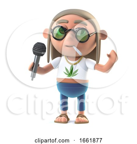 3d Hippie Stoner Has the Microphone Posters, Art Prints