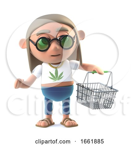 3d Hippie Stoner with Shopping Basket Posters, Art Prints