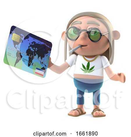 3d Hippie Stoner Pays with a Debit Card Posters, Art Prints