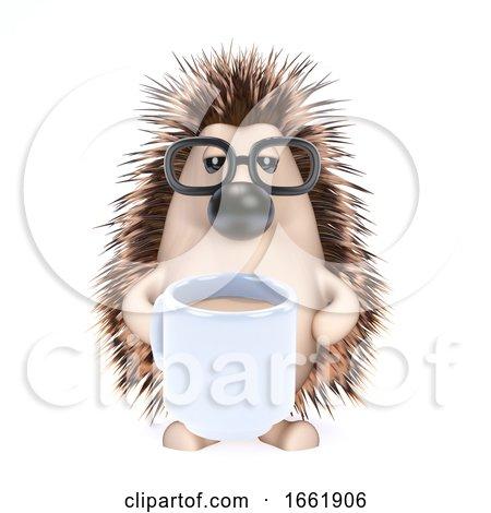 3d Hedgehog Drinks a Cup of Tea Posters, Art Prints