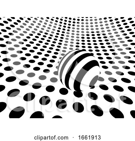 3d Monochrome Dots Environment with Striped Sphereq by Steve Young