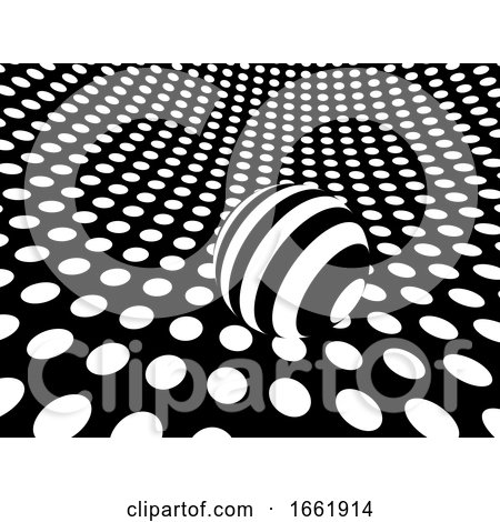 Curved Monochrome Polka Dot Surface with Sphere by Steve Young