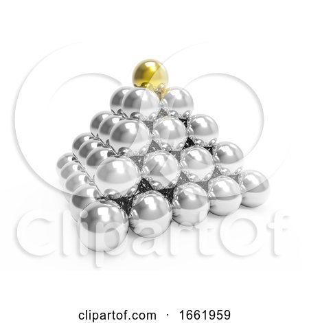 3d Silver Pyramid with Gold Top by Steve Young