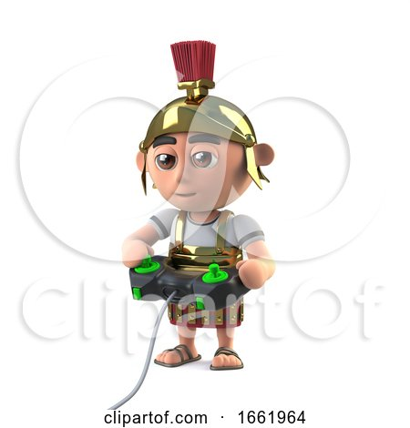 3d Roman Centurion Soldier Plays a Video Game by Steve Young