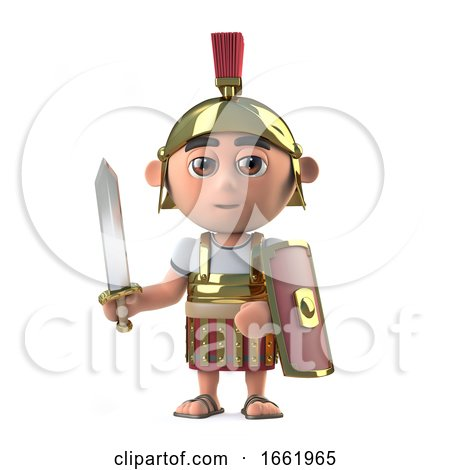 3d Roman Centurion Soldier Has Sword Drawn by Steve Young
