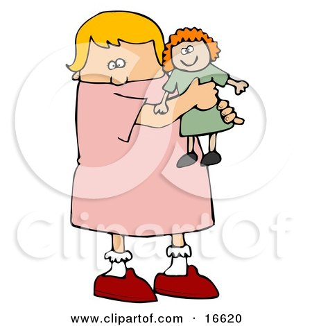 Little Blond Caucasian Girl Child Holding And Hugging Her Red Haired Doll Toy While Playing  Posters, Art Prints