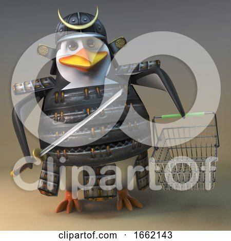 Penguin Samurai Warrior Character in 3d Holding a Sword and Shopping Basket by Steve Young