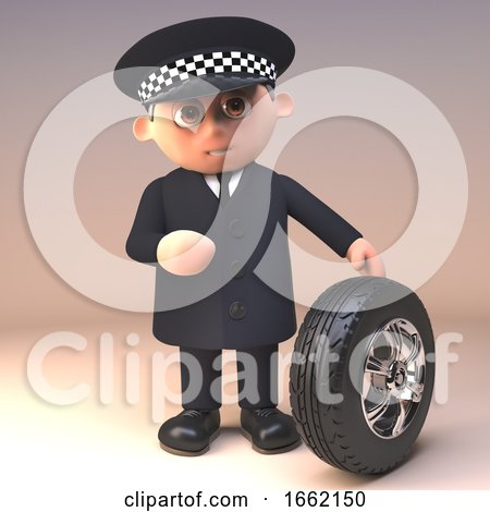 Serious Policeman Police Officer Character Is Checking the Tread Depth of a Car Tyre by Steve Young