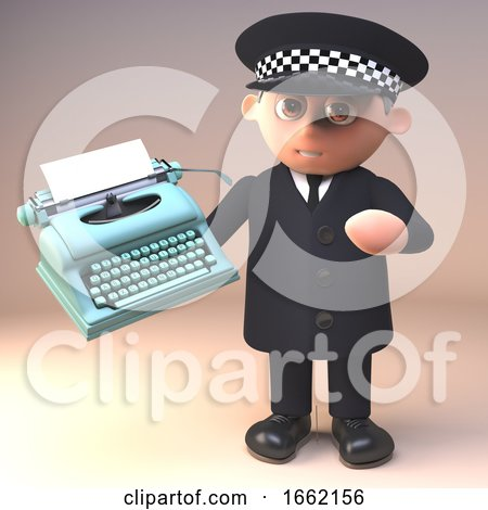 Policeman in Uniform Character in 3d Holding an Old Typewriter Posters, Art Prints