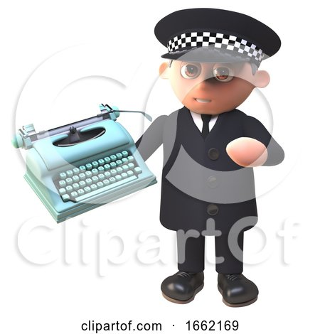 Police Law Enforcement Officer Character in Uniform Holding a Typewriter Posters, Art Prints