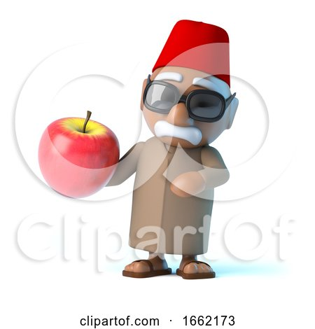 3d Moroccan Holding a Nice Red Apple by Steve Young
