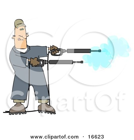 Mischievious Adult Caucasian Man In Blue Coveralls, Playing With Two Power Washer, Or Pressure Washer, Nozzles And Spraying Them Like Guns Clipart Image Graphic by djart