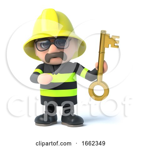 3d Fireman Holds up a Gold Key by Steve Young