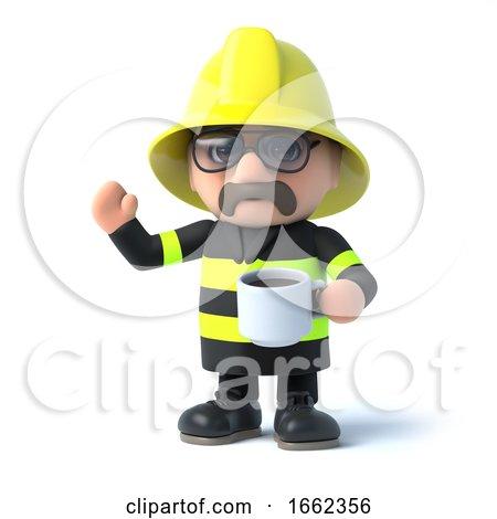 3d Fireman Takes a Coffee Break by Steve Young