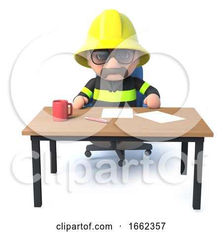 3d Fireman Sits at His Desk by Steve Young