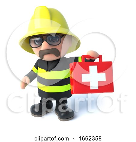 3d Firefighter with First Aid Kit by Steve Young