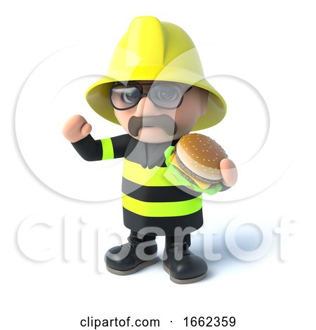 3d Firefighter Eats a Burger by Steve Young