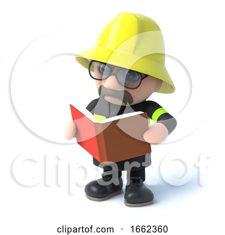 3d Fireman Reads a Book by Steve Young