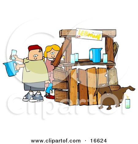 Unaware Boy and Girl Preparing Beverages at Their Lemonade Stand While Their Dog Urinates in a Cup For an Unsuspecting Customer  Posters, Art Prints